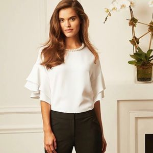 Faux pearl necklace ruffled sleeve blouse